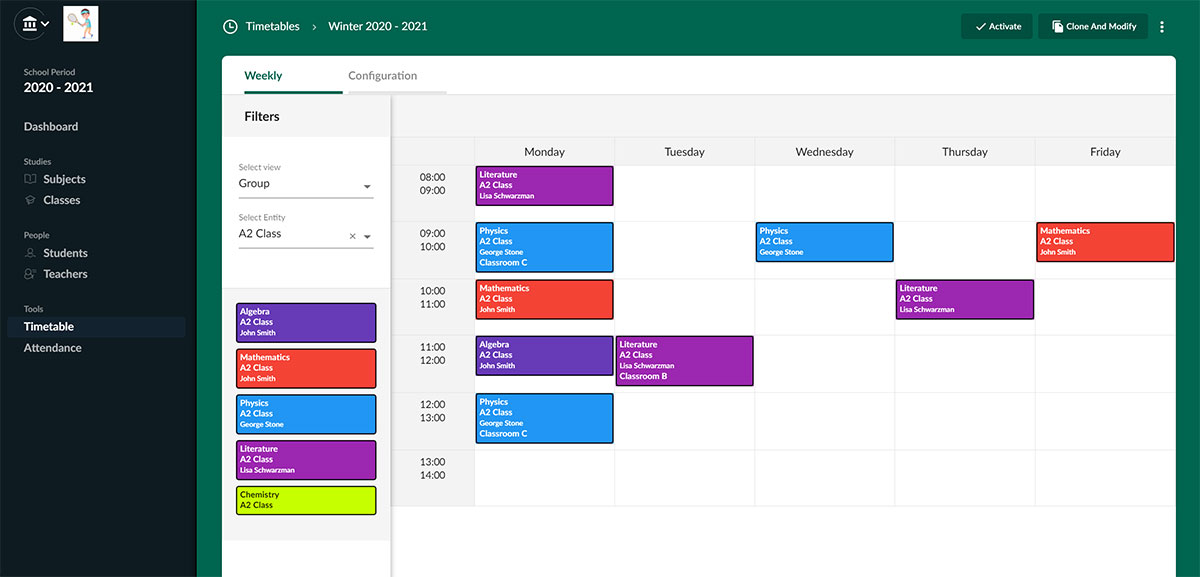 Timetable management