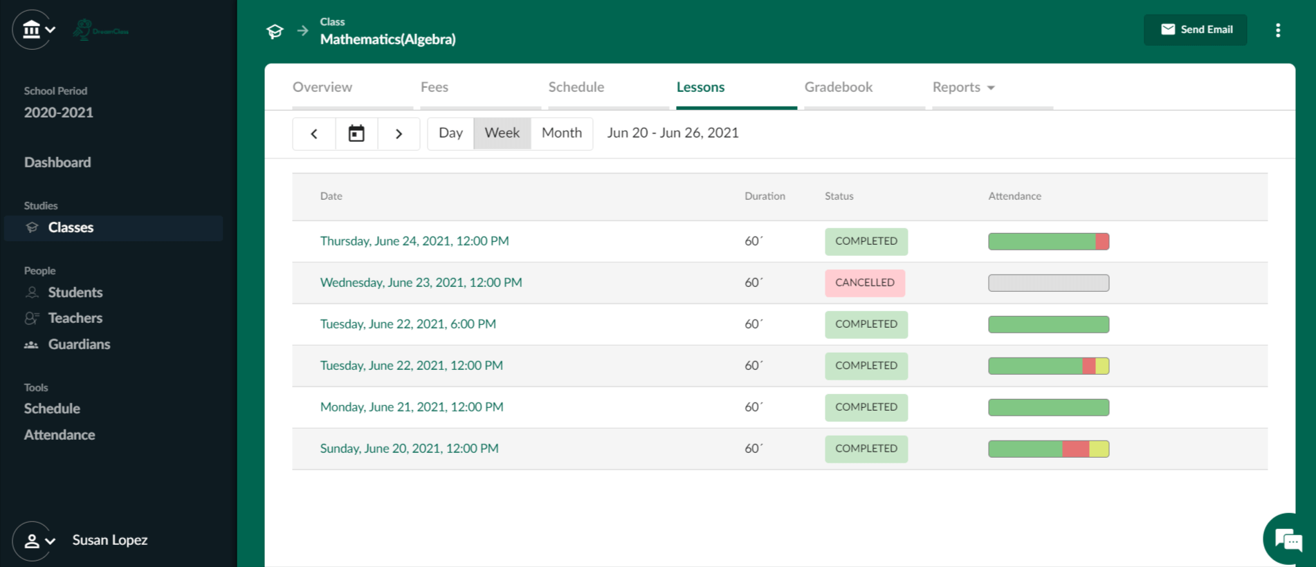 Easily schedule lessons and manage attendance, in bulk